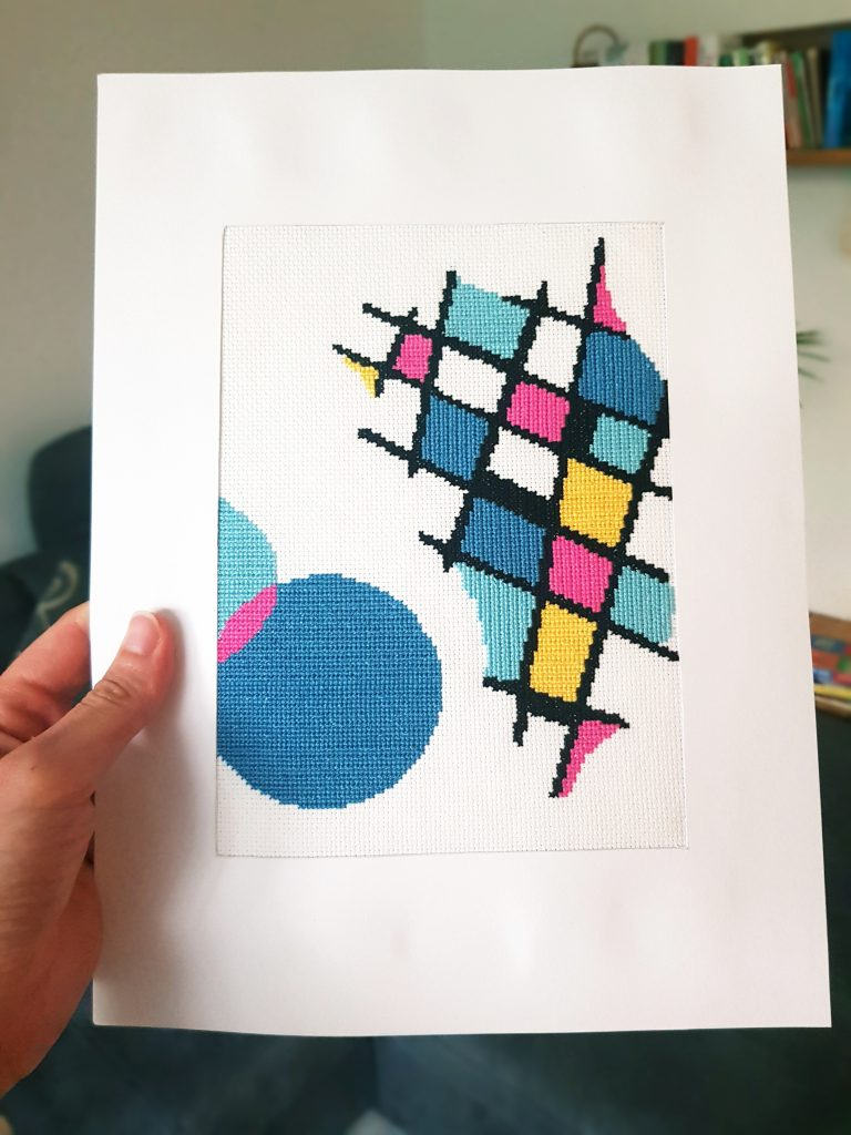 Cross stitched abstract art