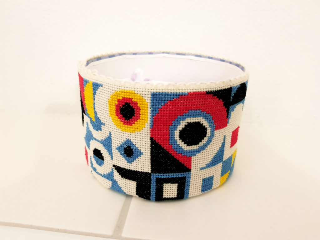 storage box - colorful cross stitch