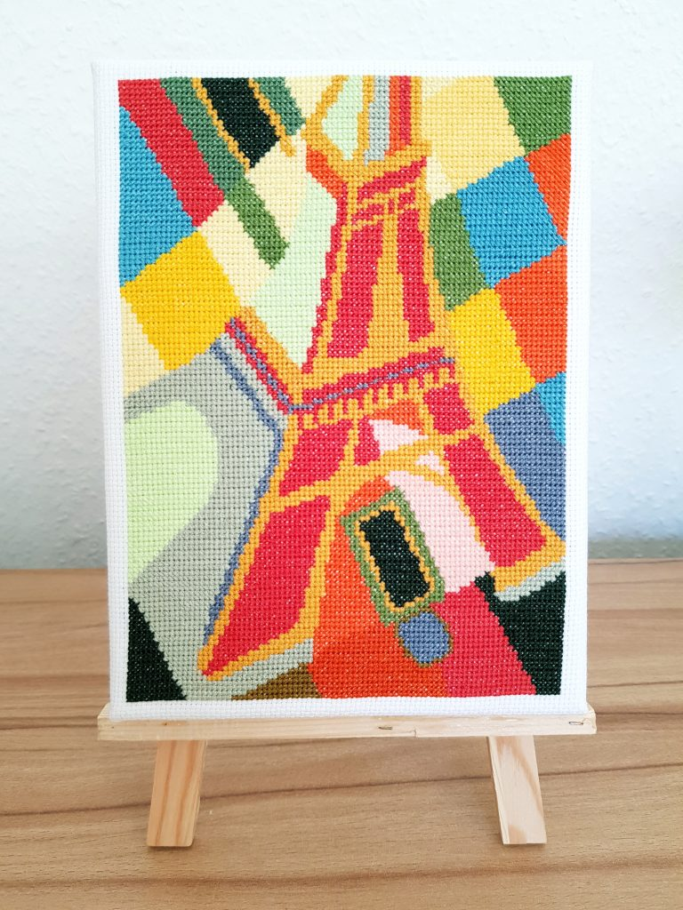 cross stitched Eiffel tower