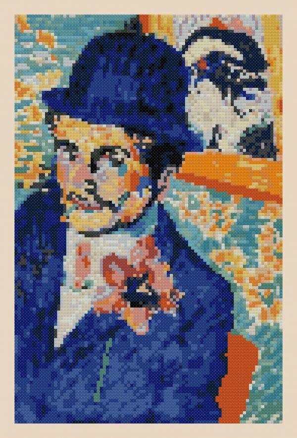 man with a tulip cross stitch pattern